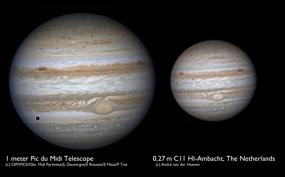 Jupiter Comparison 1 0 M Vs 0 27 M Telescope