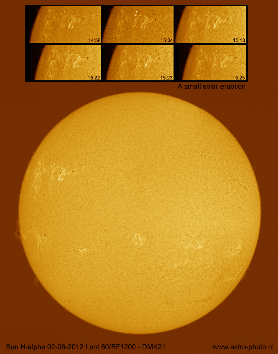 Sun H-alpha 02-06-2012 with solar eruption