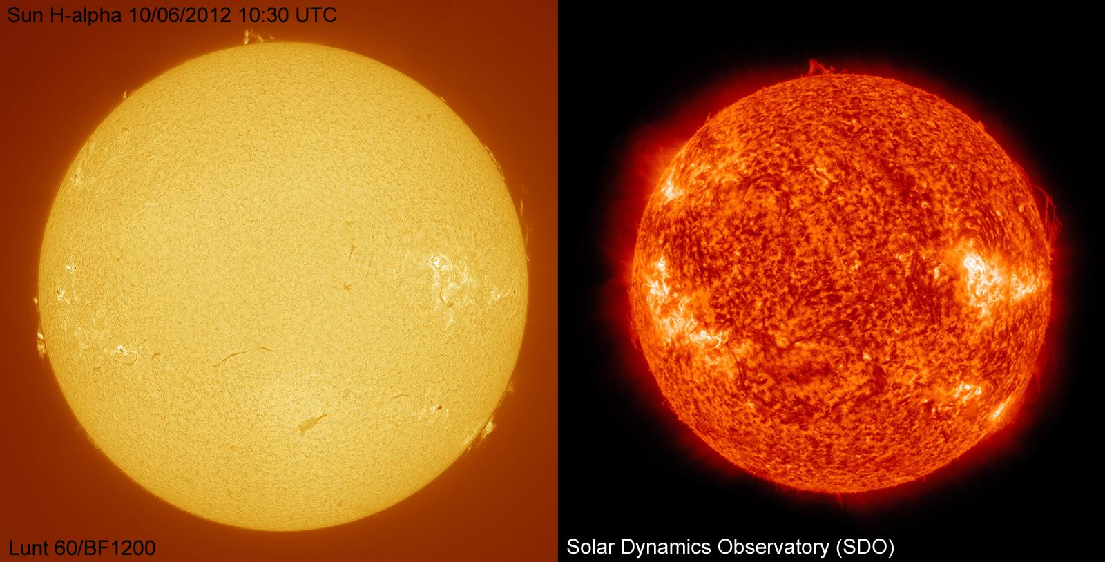 Sun in h-alpha 10-06-2012 compared with SDO data