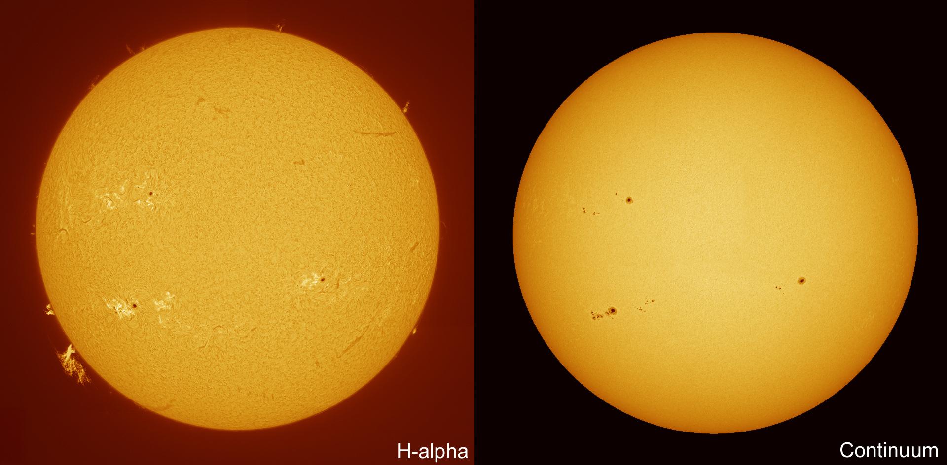 comparison whitelight vs h alpha sun 30 06 2012 astro photo