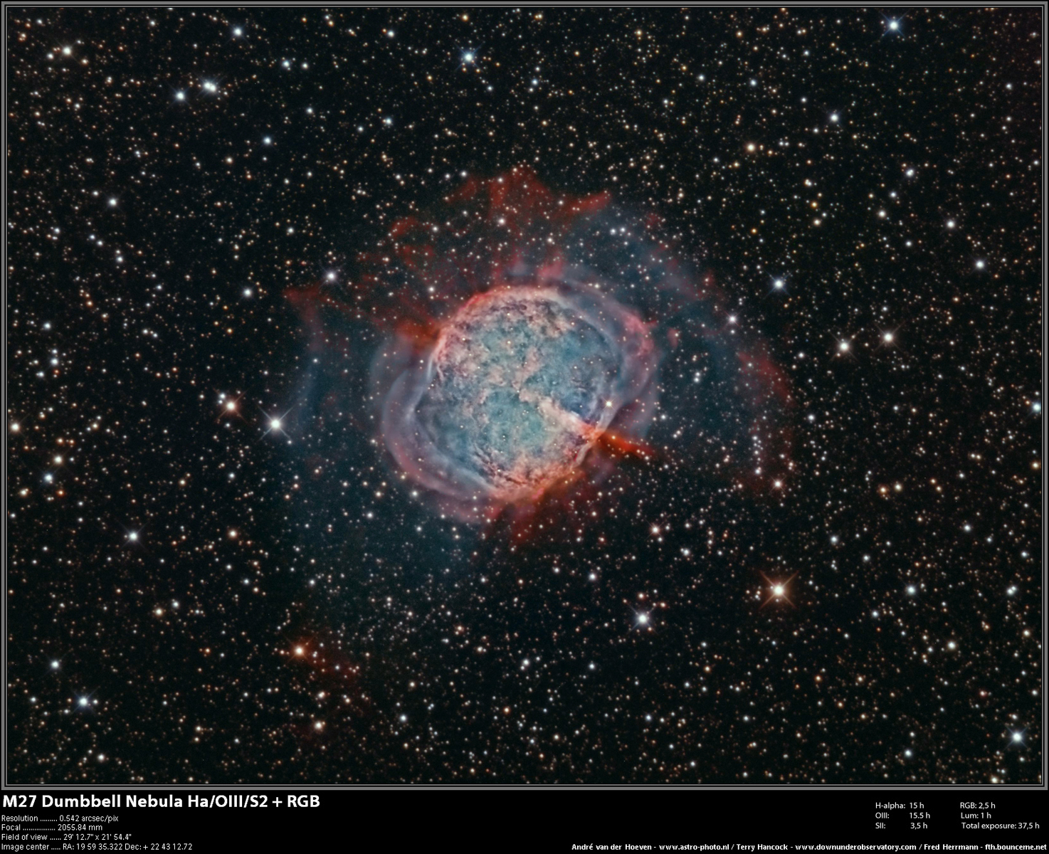 M27_HaS2OIII_RGB_terry_andre_fred_09072013_red_framed